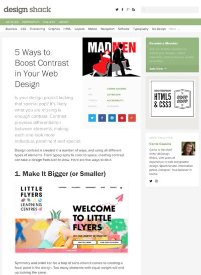 図1 Webデザインにメリハリをつける5つの方法