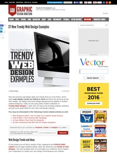 図4 最近の流行に乗ったWebデザインのギャラリー