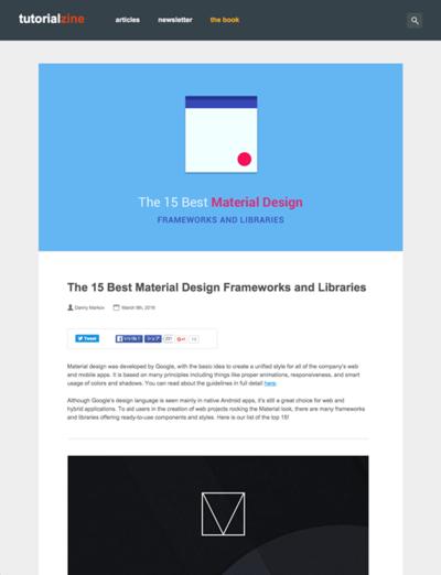 図5 マテリアルデザインのフレームワークとライブラリ15選
