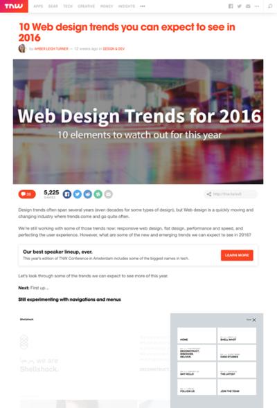 図2 2016年のWebデザインのトレンド10個