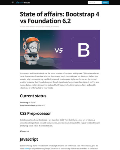 図4 BootstrapとFoundationの比較
