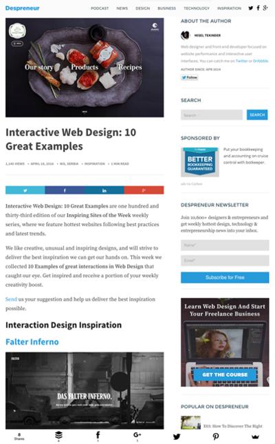 図4 インタラクティブ性に優れたWebデザインいろいろ