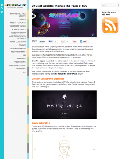 図4 SVGをうまく使ったWebデザインいろいろ