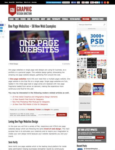 図5 1ページ完結型のWebデザインのギャラリー
