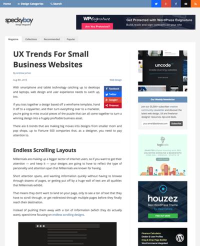 図2 スモールビジネスのWebサイトでのUXデザインのトレンド