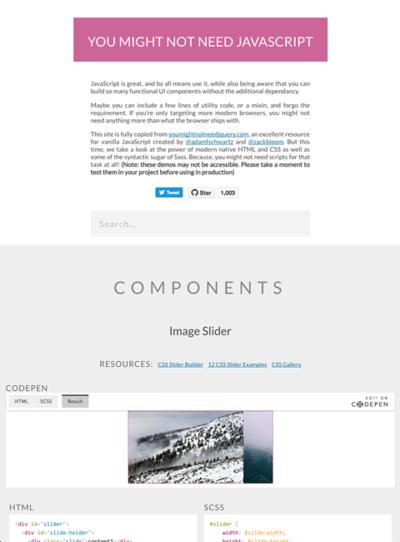 図3 JavaScriptを使わずに実現するUIコンポーネントのいろいろな例