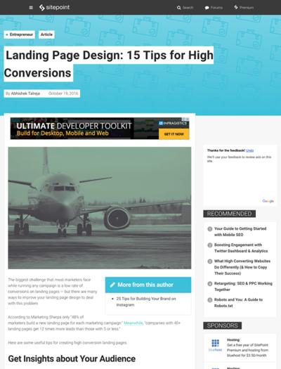図3 効果的なランディングページを作るためのヒント