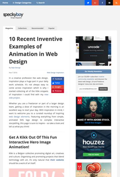 図1 独創的なアニメーションを使ったWebデザイン10選
