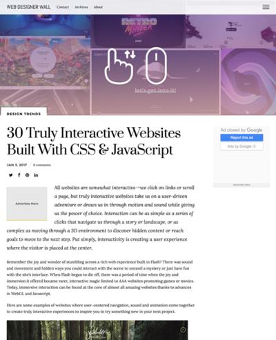 図5 インタラクティブ性の高いWebサイトのギャラリー