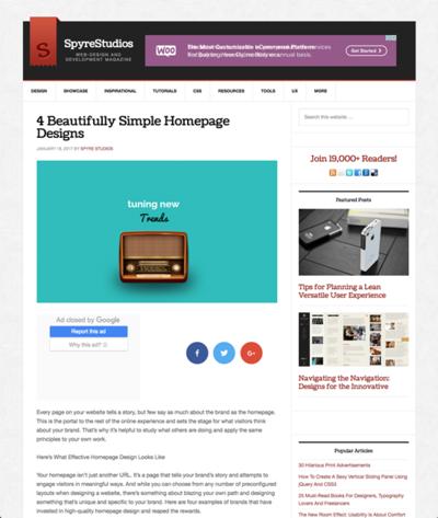 図2 シンプルで素晴らしいホームページデザインの実例