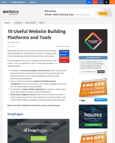 図4 Webサイトを作るためのプラットフォーム&ツール