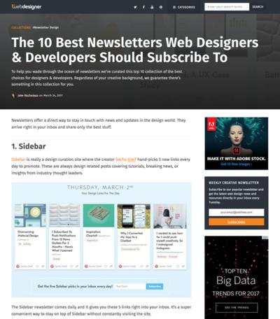 図5 Webデザイナー&開発者の役に立つニュースレター