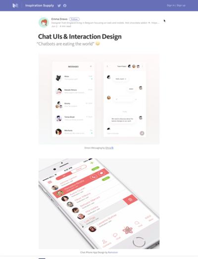 図5 チャットのUIとインタラクションデザインのサンプル