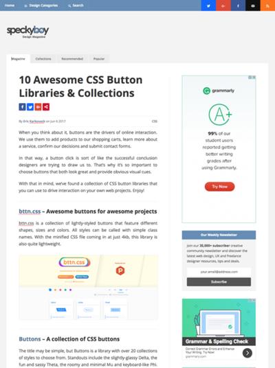 図2 CSSボタンのライブラリやコレクションいろいろ