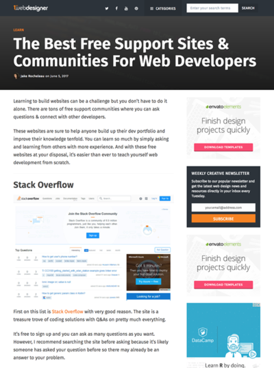 図4 Webデザイナーのためのサポートサイトやコミュニティ