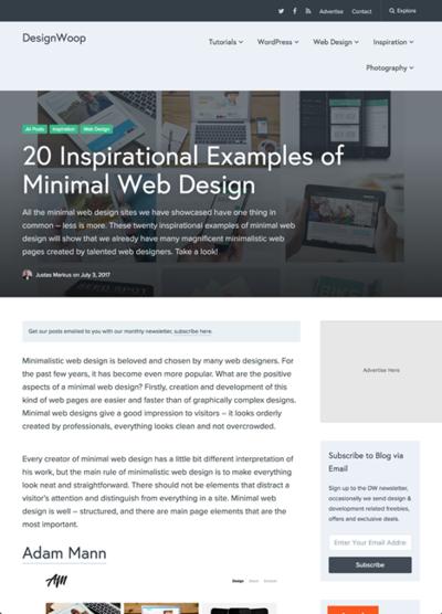 図5 ミニマルなウェブデザインのギャラリー