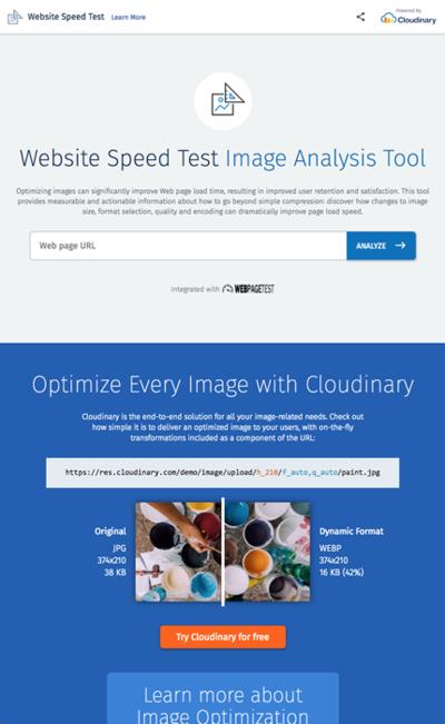 図6 画像の読み込みスピードテストと解析を行うサービス