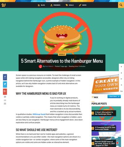 図2 ハンバーガーメニューの代わりとなるナビゲーション