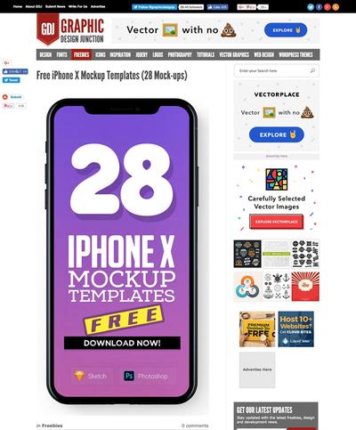 図4 iPhone Xのモックアップ素材いろいろ