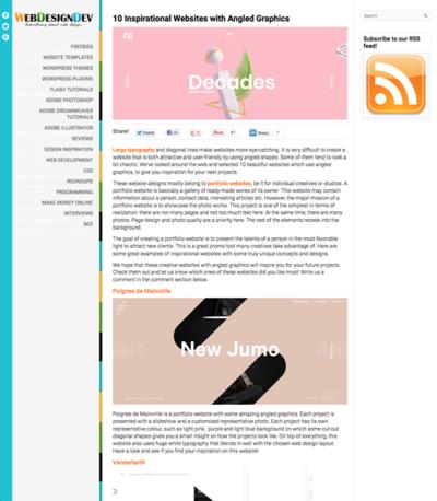 図5 斜めのグラフィックを使ったウェブデザインのギャラリー