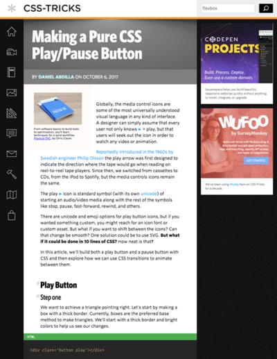 図4 CSSだけでプレイボタン/ポーズボタンを作る