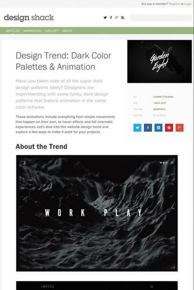 図4 暗い配色でアニメーションが特徴的なウェブデザインのまとめ