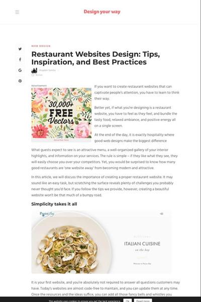図5 飲食店のウェブサイトデザイン制作の事例とテクニック