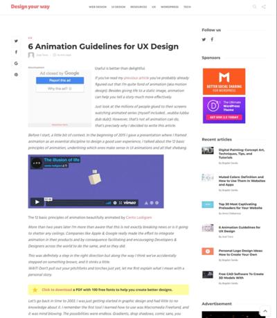 図3 UXデザインのためのアニメーションのガイドライン