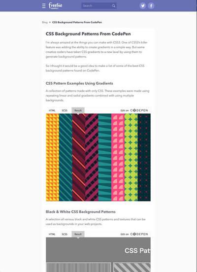 図4 CSSだけで作った背景パターンいろいろ