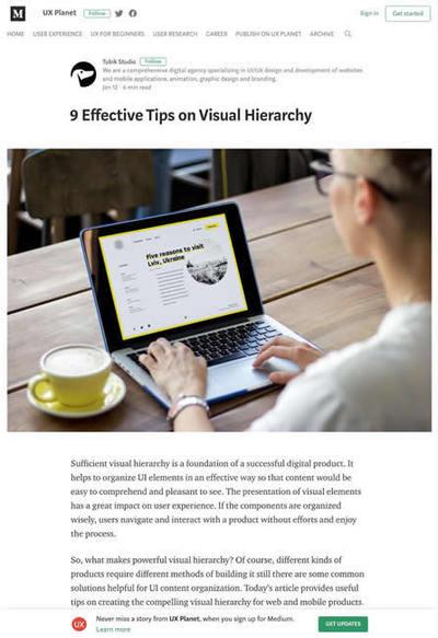 図1 視覚的階層構造(ビジュアルヒエラルキー)の効果的テクニック