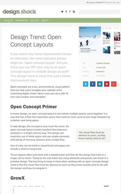 図5 ウェブデザインにおけるオープンコンセプトレイアウト
