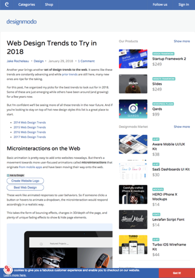 図2 2018年に挑戦したいウェブデザインのトレンド