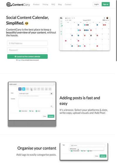 図6 ソーシャルメディアに投稿する記事をカレンダーベースで管理するツール