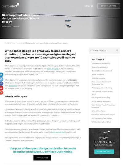 図5 ホワイトスペースをうまく使ったウェブデザインの実例