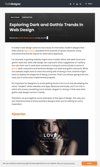 図4 暗くゴシック様式のウェブデザインの事例いろいろ