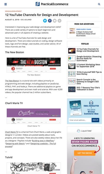図4 ウェブデザインと開発に役立つYouTubeチャンネルのリスト