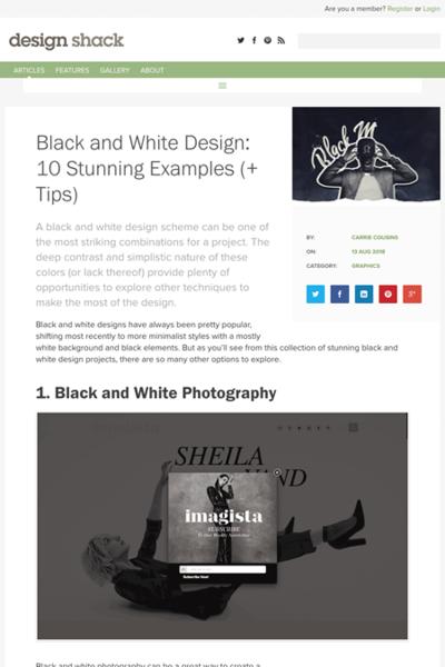 図2 白黒のウェブデザインの実例とヒント