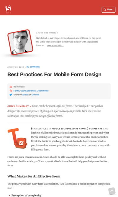 図2 モバイル向けフォームデザインのベストプラクティス