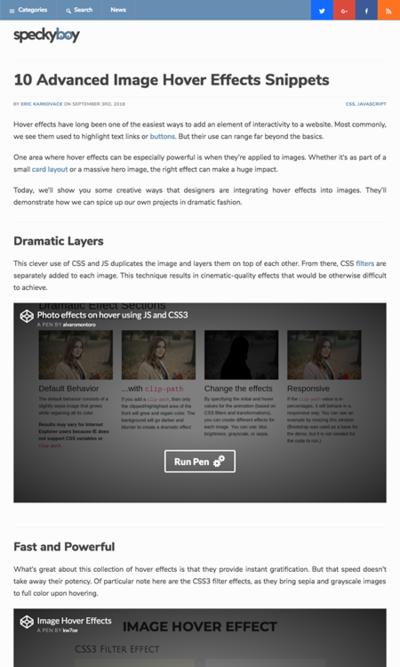 図5 画像に対するホバー効果の例いろいろ