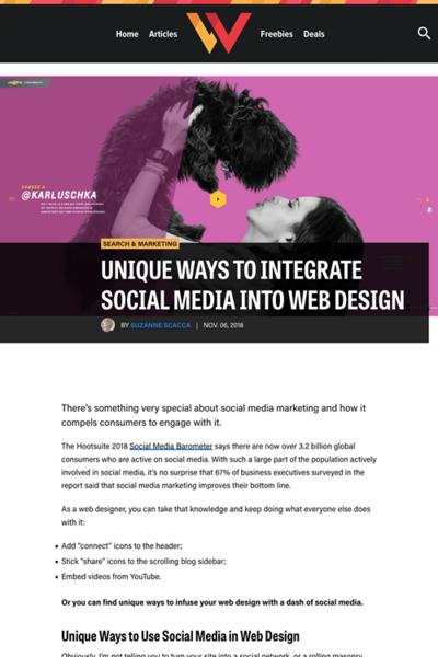 図2 ウェブデザインにソーシャルメディアを統合するユニークな方法