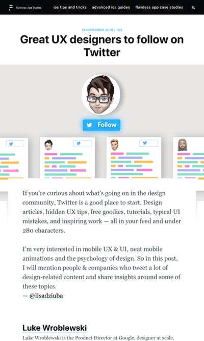 図4 フォローすべきUXデザイナーのアカウントいろいろ