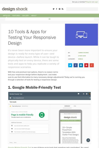 図3 レスポンシブサイトのテストのためのツールとアプリ