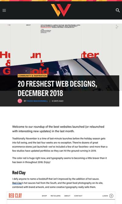 図5 2018年12月のウェブデザインのギャラリー