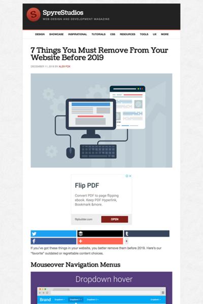図3 2019年になる前にウェブサイトから取り除くべき7つのもの