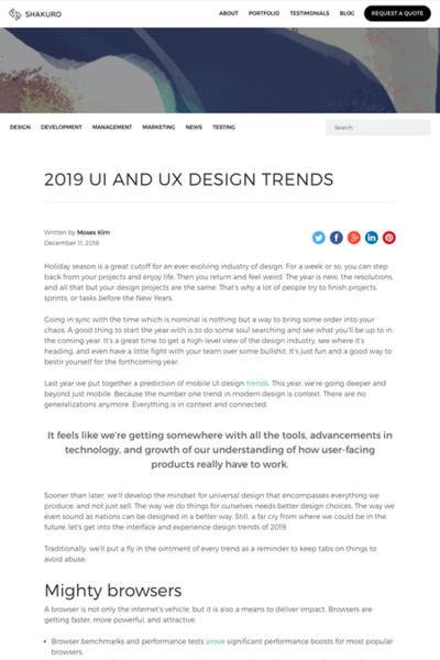 図4 2019年に向けてのUIとUXのデザイントレンド