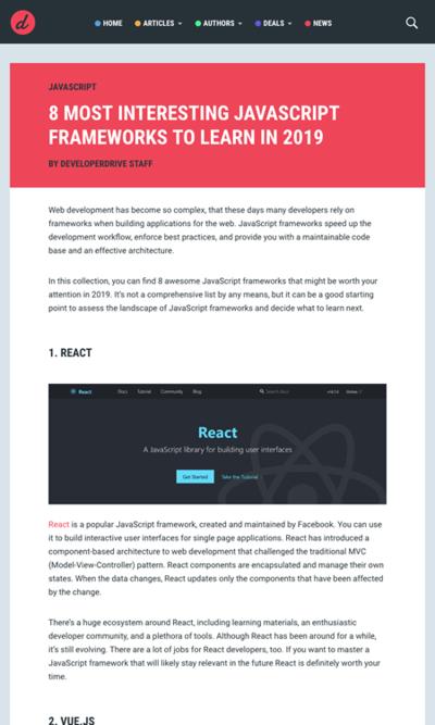 図3 2019年に学びたい8つのJavaScriptフレームワーク