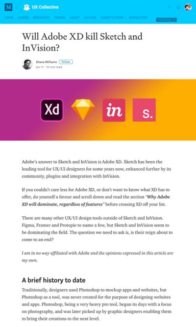 図4 Adobe XDはSketchとInVisionに勝利するのか?