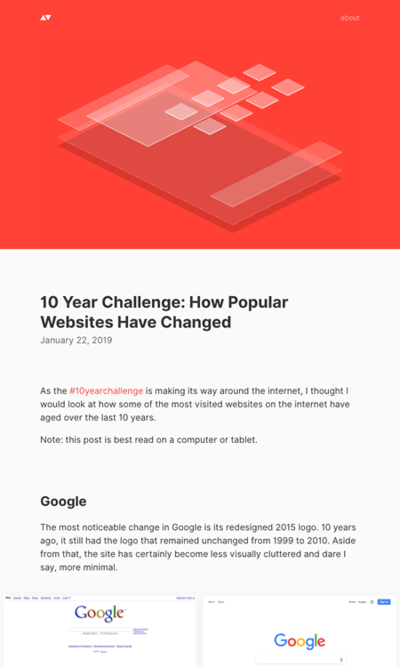 図3 有名サイトの10年前と今とを比較