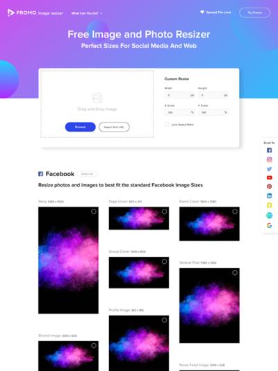 図6 各種ソーシャルメディア向けに画像をリサイズするサービス