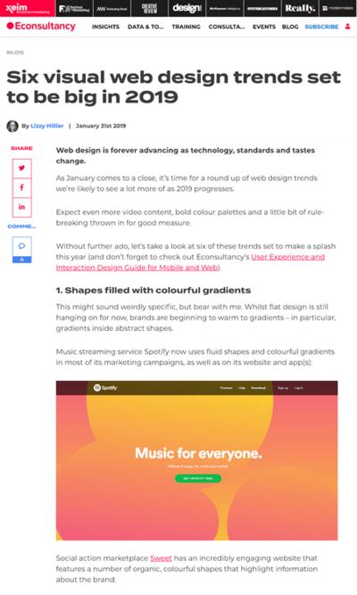 図1 2019年に目にすることが増えそうなウェブデザインのトレンド